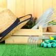 Garden tools on grass in yard - Stock Photo