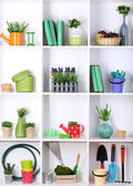 Beautiful white shelves with different gardening related objects — Stockfoto