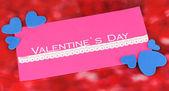 Wenskaart voor Valentijnsdag op rode achtergrond — Stockfoto