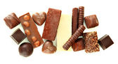 Chocolate and sweets isolated on white — Stock Photo