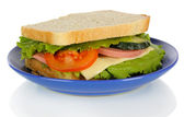 Sandwich on plate isolated on white — Stock Photo