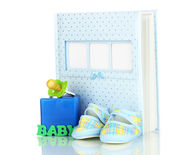 Baby photo album isolated on white — Stock Photo