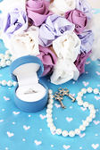 Conceptual photo: wedding in blue and violet color style — Stock Photo