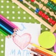 Stock Photo: Toy abacus, notebook, pencils on bright background