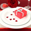 Table setting in honor of Valentine's Day close-up — Stock Photo #20787915