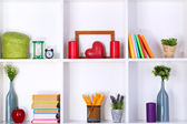 Beautiful white shelves with different home related objects — Stok fotoğraf