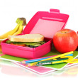 Lunch box with sandwich,fruit and stationery isolated on white — Stock Photo #21019949