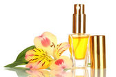 Women's perfume in beautiful bottle with flower isolated on white — Foto de Stock