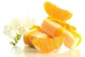 Natural fruit handmade soap, isolated on white — Stock Photo