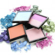 Stock Photo: Beautiful bright eye shadows isolated on white