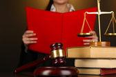 Judge read verdict on brown background — Stock Photo