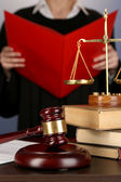 Judge read verdict on purple background — Stock Photo