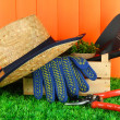 Garden tools on grass in yard — Stock fotografie