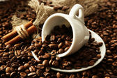 Cup with coffee beans, close up — Stock Photo