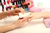Manicure process in beauty salon, close up — Stock Photo