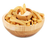 French fries in bowl isolated on white — Stock Photo