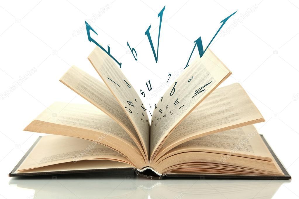 Libro Abierto Con Letras Volando Fuera Aislado En Blanco