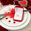 Table setting in honor of Valentine's Day close-up — Stock Photo #21232505
