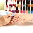 Stock Photo: Manicure process in beauty salon, close up