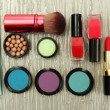 Stock Photo: Decorative cosmetics on grey background