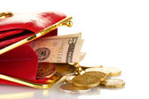 Female red wallet with money isolated on white — Stock Photo