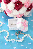 Conceptual photo: wedding in pink and blue color style — Stock Photo