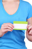 Blank nametag on girl's clothes close up — Stock Photo