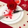 Table setting in honor of Valentine's Day close-up — Stock Photo #21303221
