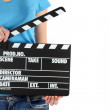 Movie production clapper board in hands isolated on white — Foto de Stock