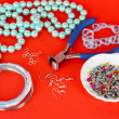 Set for needlework on red background - Stock Photo