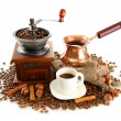 Cup and pot of coffee and coffee beans, isolated on white — Стоковая фотография