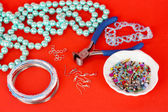 Set for needlework on red background — Stock Photo