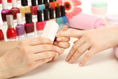 Manicure process in beauty salon, close up — Stock Photo