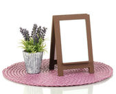 Brown photo frame as easel isolated on white — Stock fotografie