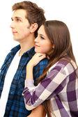 Coppia di innamorati isolato su bianco — Foto Stock