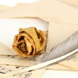 Old envelope with blank paper with dried rose on music sheets close up — Stock Photo #21388665