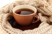 Cup of tea with scarf close-up — Stock Photo