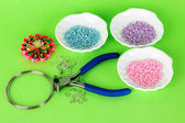 Set for needlework on green background — Stok fotoğraf