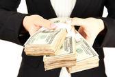Woman recounts dollars, close up — Stock Photo