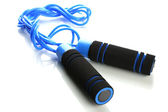 Blue skipping rope, isolated on white — Stock Photo