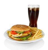 Tasty cheeseburger with fried potatoes and cold drink, isolated on white — Stock Photo