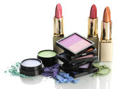 Beautiful bright eye shadows and lipsticks isolated on white — ストック写真