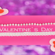 Greeting card for Valentine's Day on purple background - 图库照片