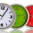 Round office clocks isolated on white — Stock Photo