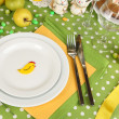 Serving Easter table close-up - Stock Photo