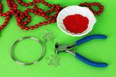 Set for needlework on green background — Stock Photo