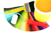 Set for painting: paint pot, brushes, paint-roller and colored palette isolated on white — Stock Photo