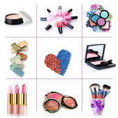 Collage of cosmetics for professional make-up isolated on white — Stock Photo