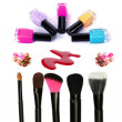 Stock Photo: Collage of cosmetics for professional make-up isolated on white