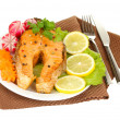Appetizing grilled salmon with lemon and vegetables isolated on white — Stock Photo